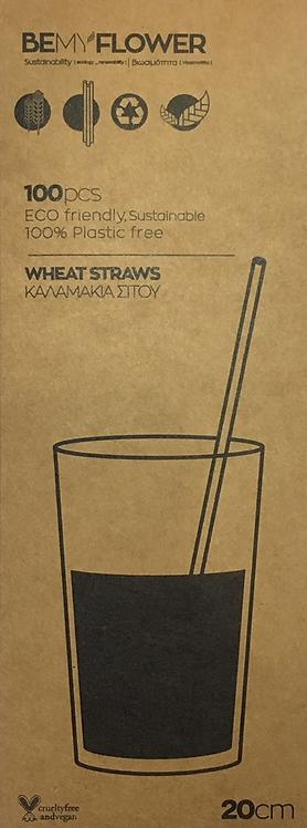 Be My Flower Wheat Drinking Straws - Set 100 Καλαμάκια Μιας Χρήσης 20 cm