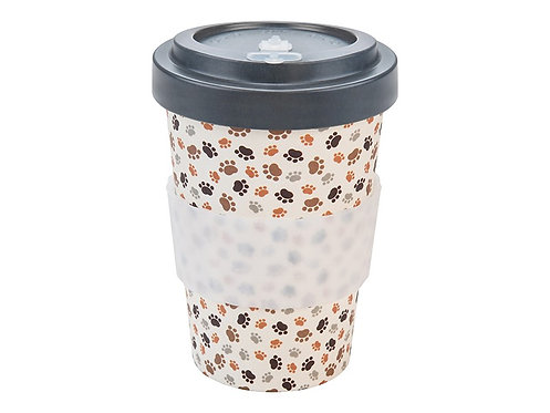 Eco Bamboo Cup - Paws Grey