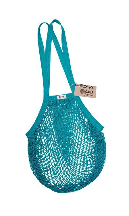Net Bag / Τσάντα Δίχτυ Από Οργανικό Βαμβάκι Με Μακριά Λαβή - Teal
