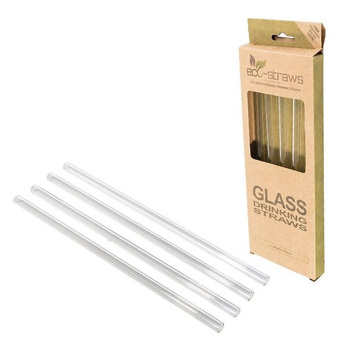 Glass Drinking Straws For Smoothies - Set 4 Γυάλινα Καλαμάκια Ίσια 8mm