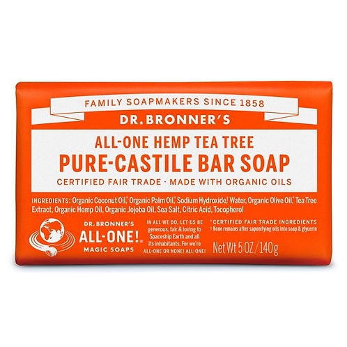 Dr. Bronner's Pure Castile Bar Soap Tea Tree - Αγνό Σαπούνι Καστίλης Σε Μπάρα