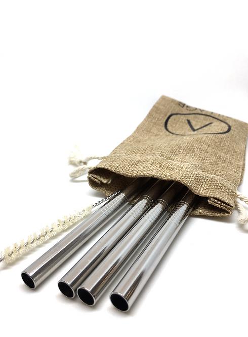 Stainless Steel Straws - Set 4 Ανοξείδωτα Καλαμάκια Smoothie Με Πουγκί