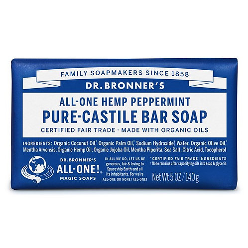 Dr. Bronner's Pure Castile Bar Soap Peppermint - Αγνό Σαπούνι Καστίλης Σε Μπάρα