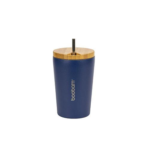 Boobam Thermos Cup 350ml - Ποτήρι Θερμός Με Καλαμάκι Blue