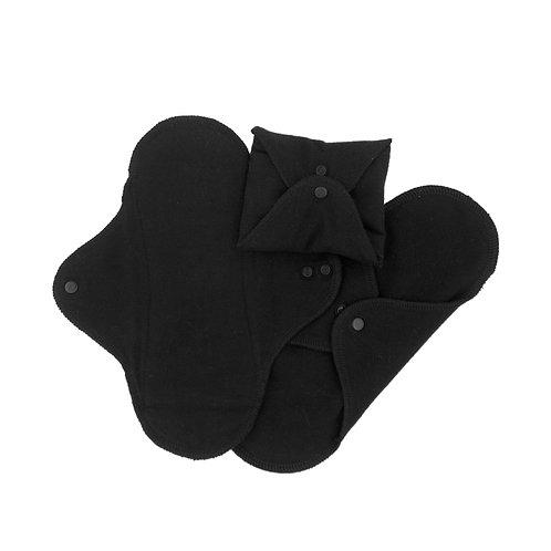 Υφασμάτινη Σερβιέτα Πολλαπλών Χρήσεων - SET 3 Regular/Day Black