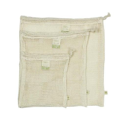 Βιολογικό Βαμβακερό Πουγκί Δίχτυ - Σετ Των 3