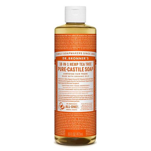 Dr. Bronner's Pure Castile Liquid Soap Tea Tree - Αγνό Υγρό Σαπούνι Καστίλης