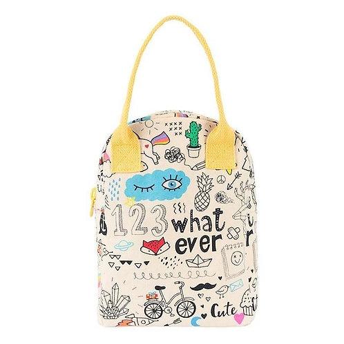 Fluf Zipper Lunch Bag Whatever - Τσάντα Φαγητού Από Οργανικό Βαμβάκι