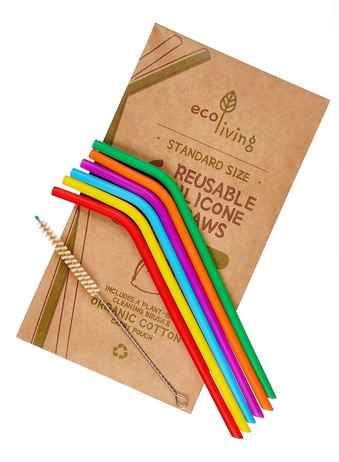 6 Καλαμάκια Σιλικόνης - 6 Silicone Straws & Plant-Based Cleaning Brush
