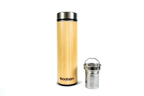 Boobam Τumbler Black - Θερμός Bamboo & Stainless Steel 532ml