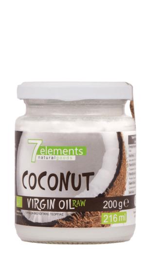 7Elements Βιολογικό Παρθένο Λάδι Καρύδας - Βρώσιμο/Καλλυντικό 200gr