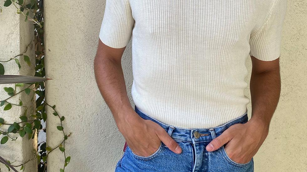 Vintage Ribbed Off-white Short Sleeve Mock Neck