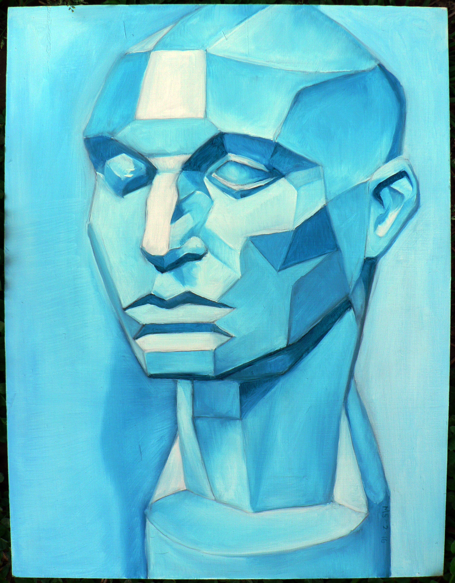 Blue Head Study - Oil on wood