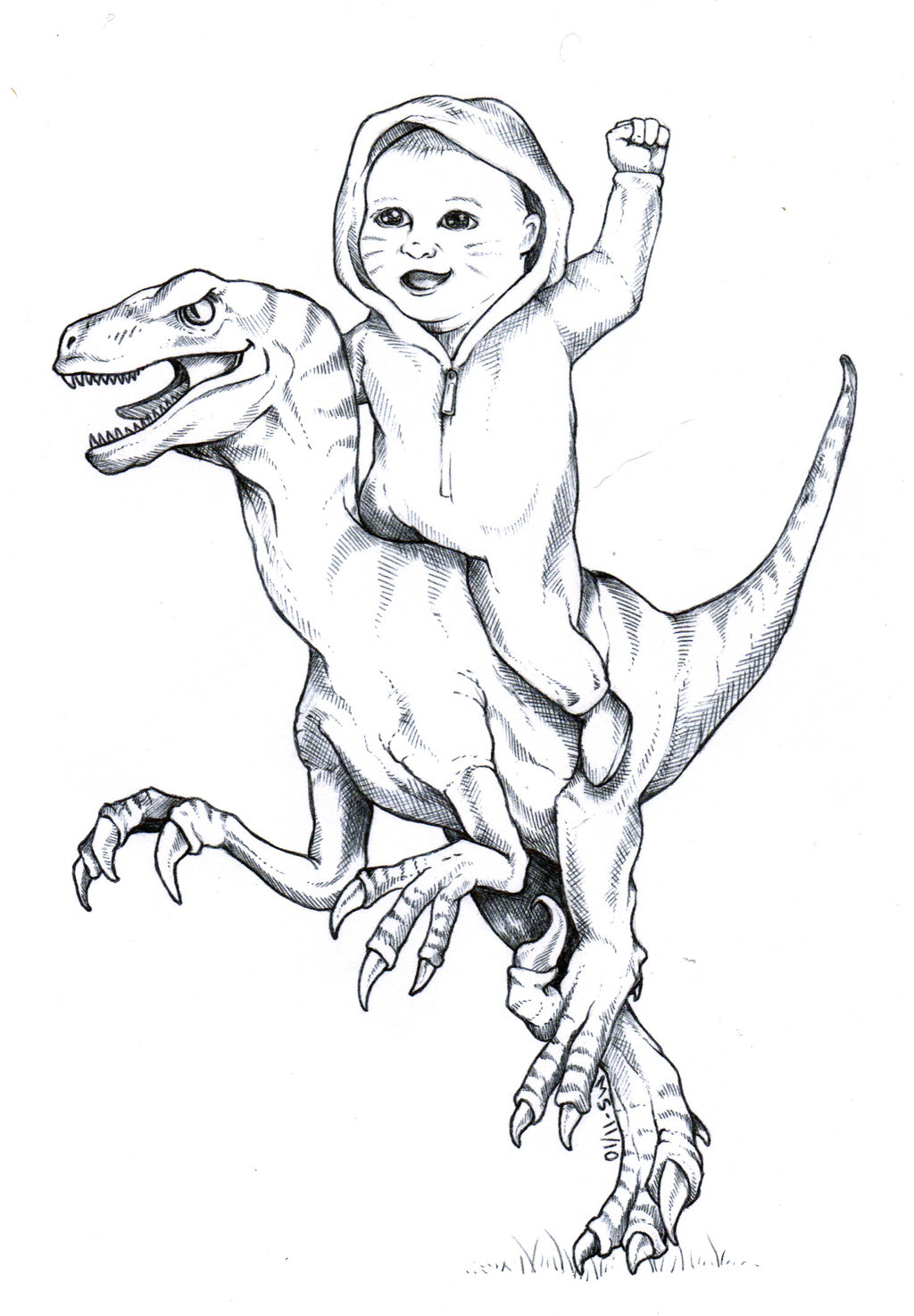 baby_riding_velociraptor_by_blackmagdalena-d6tqq4k