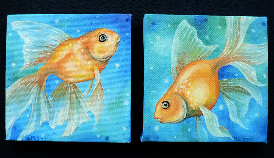 Twin Goldfish - Oil on canvas