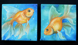 Twin Goldfish - Oil on canvas