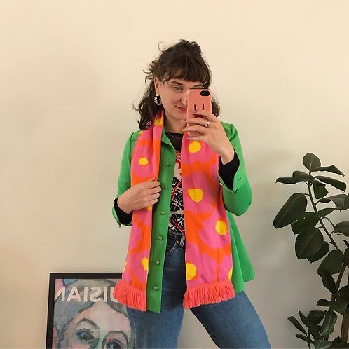 ORANGE AND PINK FLORAL KNITTED SCARF