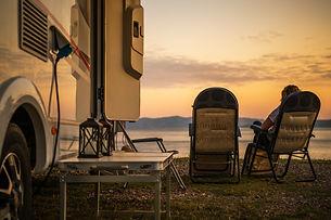Scenic RV Campsite Pitch. Camper Van In