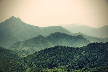 Serene misty mountains