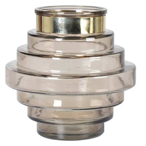 Mocha Candle Holder Or Vase With Gold Rim