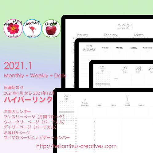 年間+月間+週間<バーチカル(24時制)>+日間<バーチカル(24時制)>(Sun→Sat)