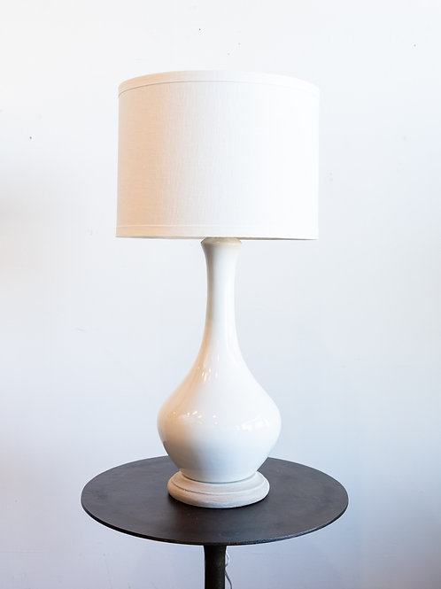 White Glass Lamp w/ Patterned Shade