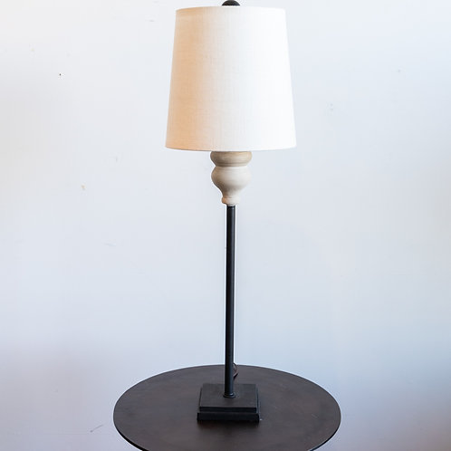 Grey Metal Table Lamp w/ Linen Shade