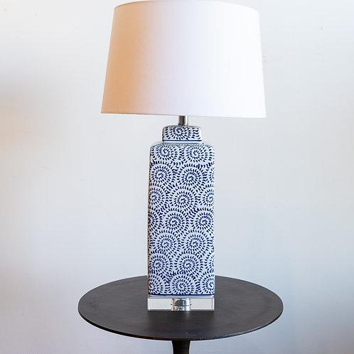 Ceramic Glazed Lamp Dark Blue & White