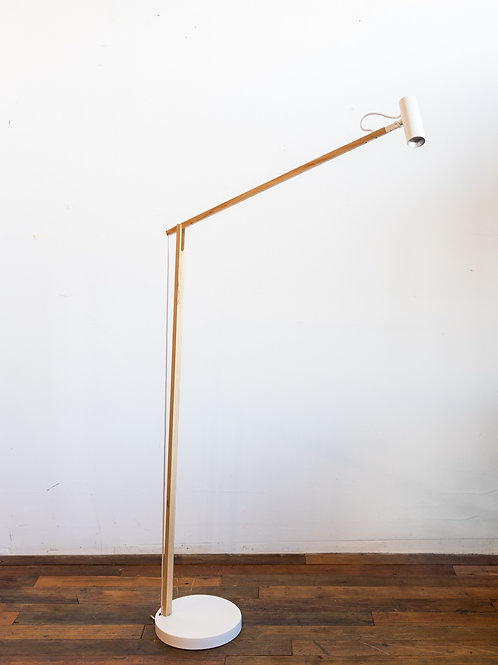 Crane LED Floor Lamp Walnut Wood -White