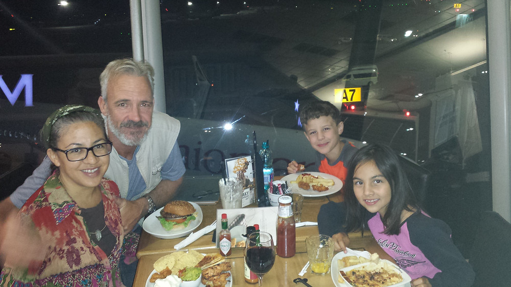 Enjoying a comped meal at Mugg & Bean in OR Tambo, JHB