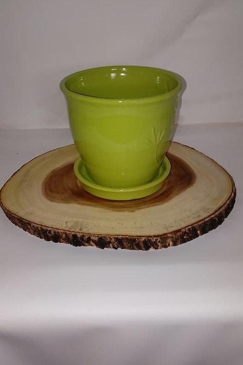 Green Flower Pot Wood Centerpiece