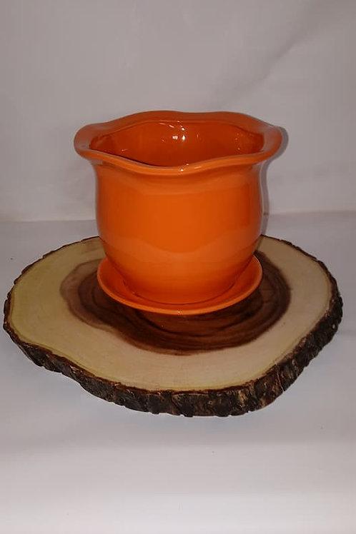 Orange Flower Pot Wood Centerpiece