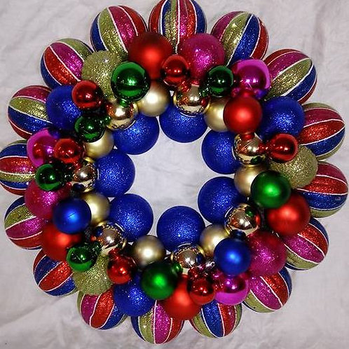Pink, Green, Blue & Red Wreath