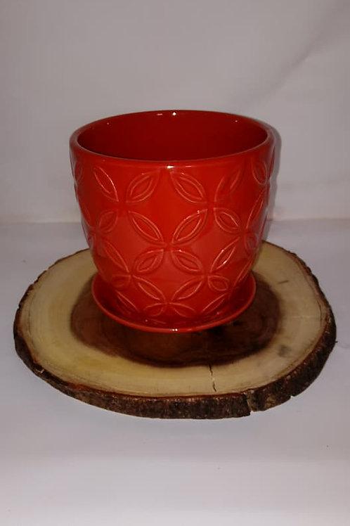 Red Flower Pot Wood Centerpiece