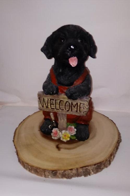 Black Lab Puppy Wood Centerpiece