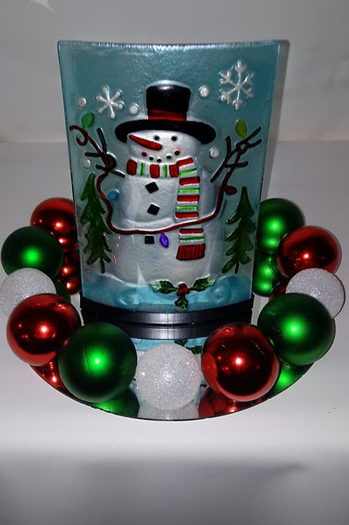 Stained Glass Snowman Centerpiece