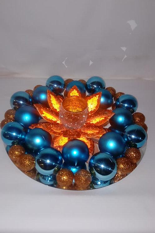 Orange Flower Candle Centerpiece