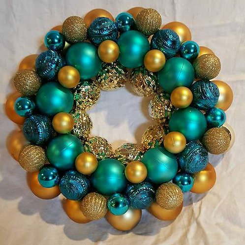 Teal and Gold Wreath
