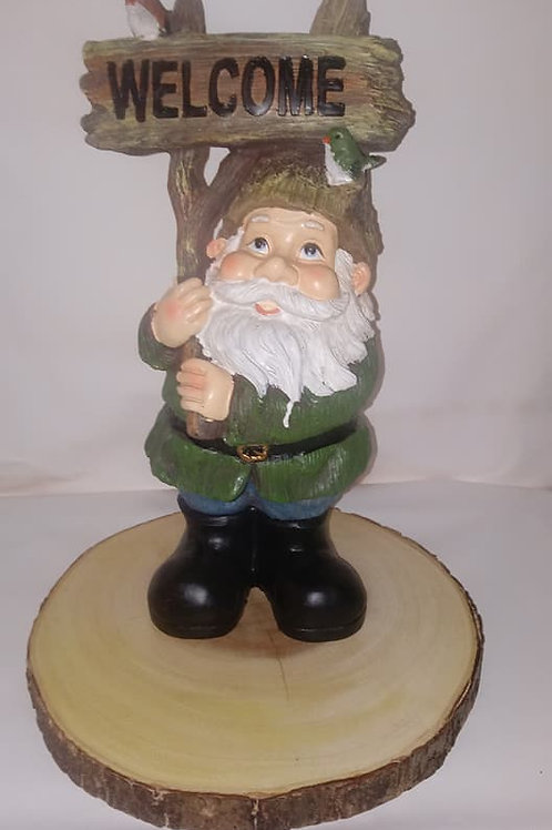 Tall Welcome Gnome Wood Centerpiece
