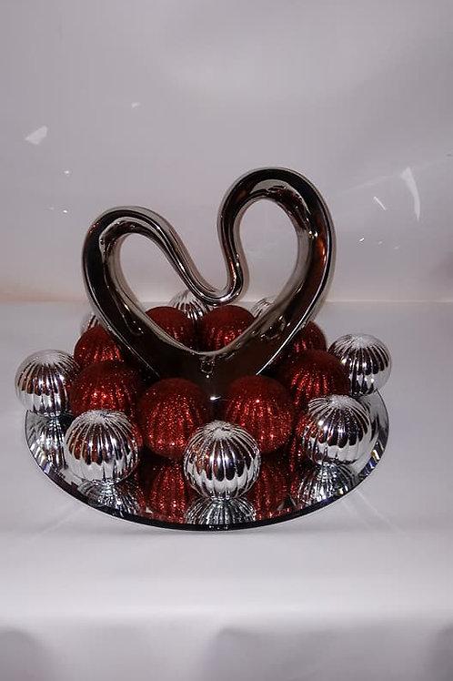Unique Glass Silver Heart Centerpiece