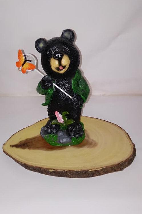Bear Catching Butterfly Wood Centerpiece