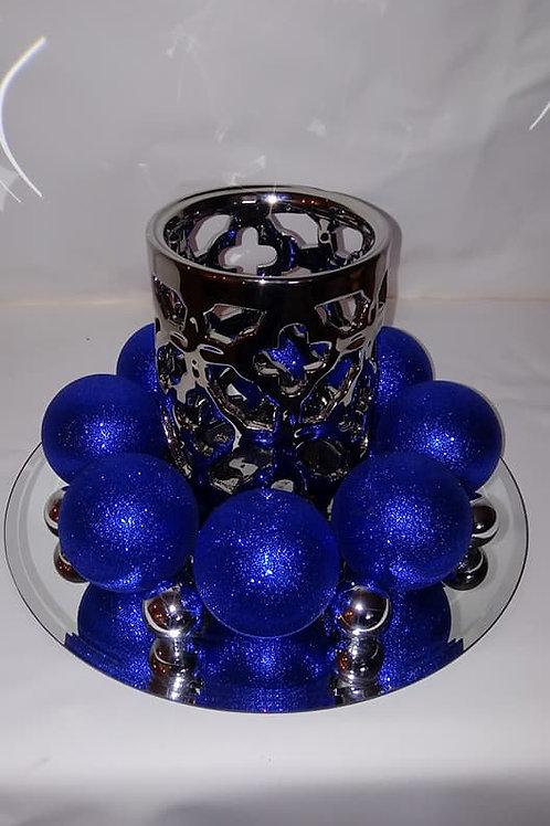 Silver Glass Candleholder Centerpiece