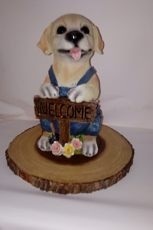 Yellow Lab Puppy Wood Centerpiece