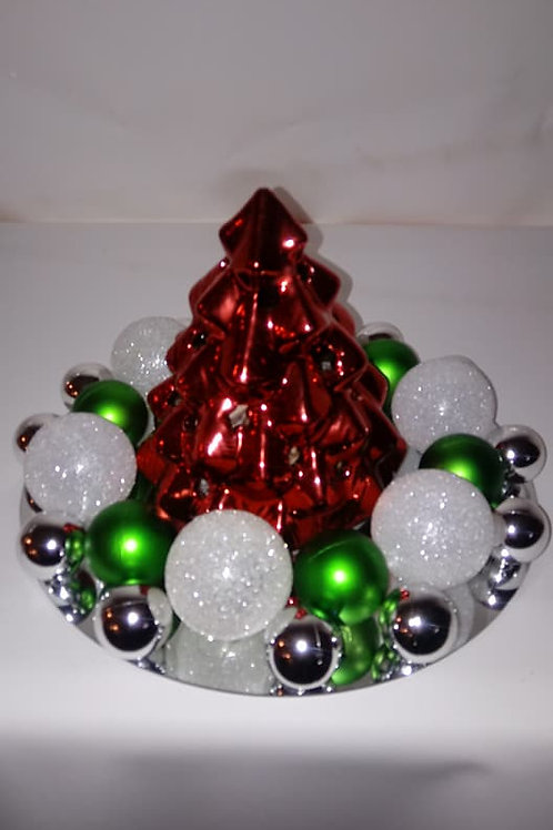Red Glass Christmas Tree Centerpiece