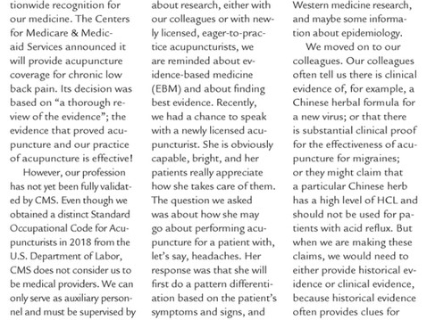 Acupuncture Today Article regarding EBM In Search of Best Evidence