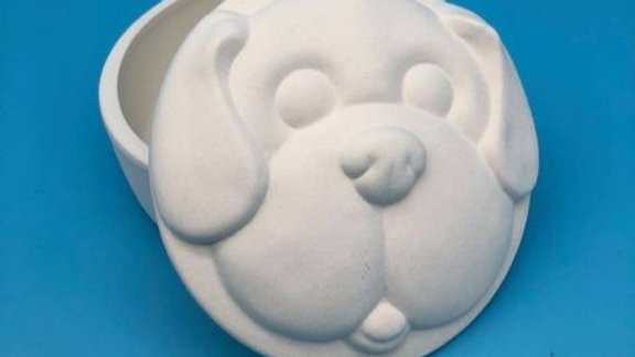 Round Dog Trinket Box