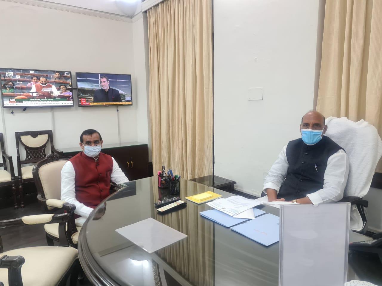 केंद्रीय रक्षा मंत्री श्री राजनाथ सिंह जी से मुलाकात..