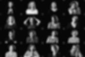 Team collage met zwart wit foto's