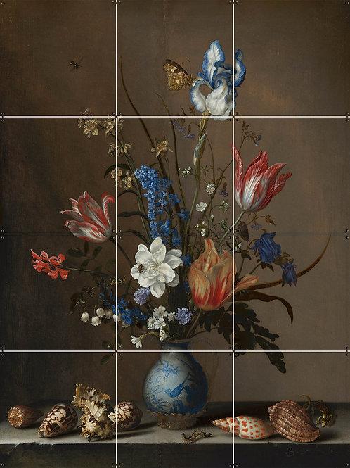 Bloemen in een Wan - Li vaas | Balthasar van der Ast