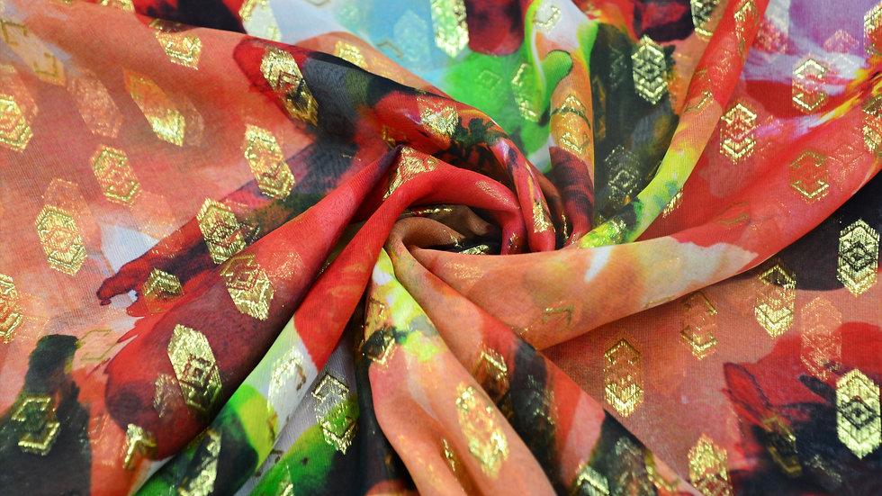 Floral & Gold Silk Chiffon
